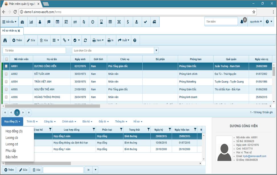 Phần mềm quản lý nguồn nhân lực Sinnova HRMS