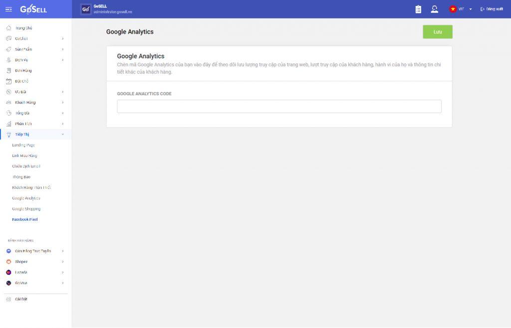 Google Analytics nay đã được tích hợp trong GoSELL