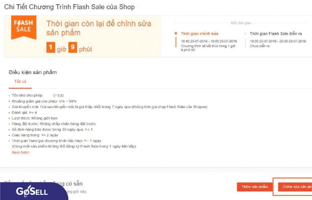Cách đăng kí flash sale