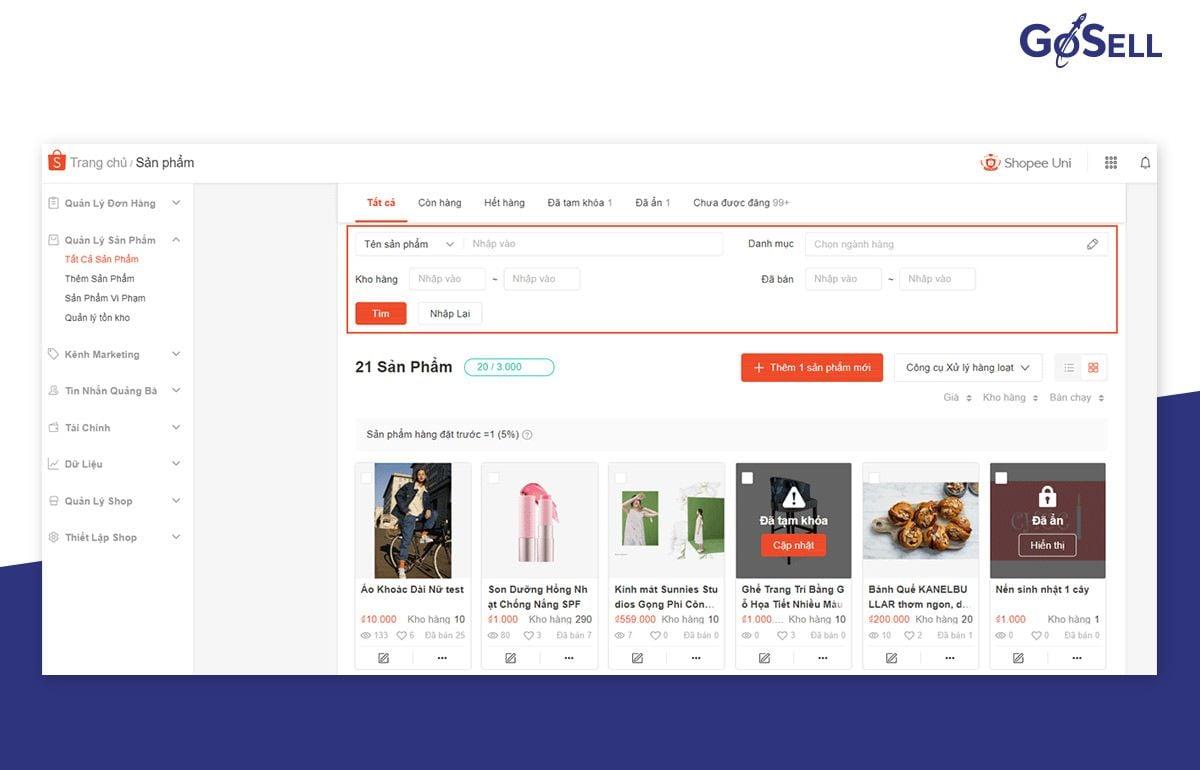 App bán hàng Shopee 11