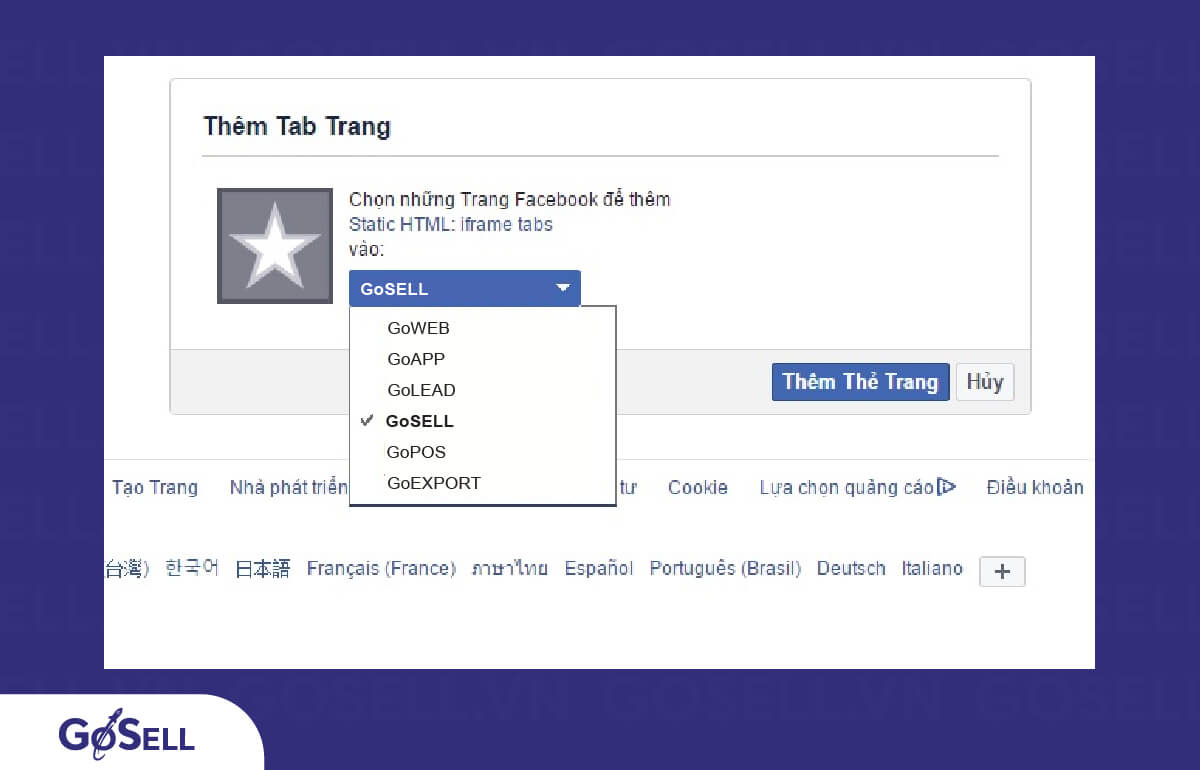 Chọn Fanpage mà bạn muốn tạo landing page