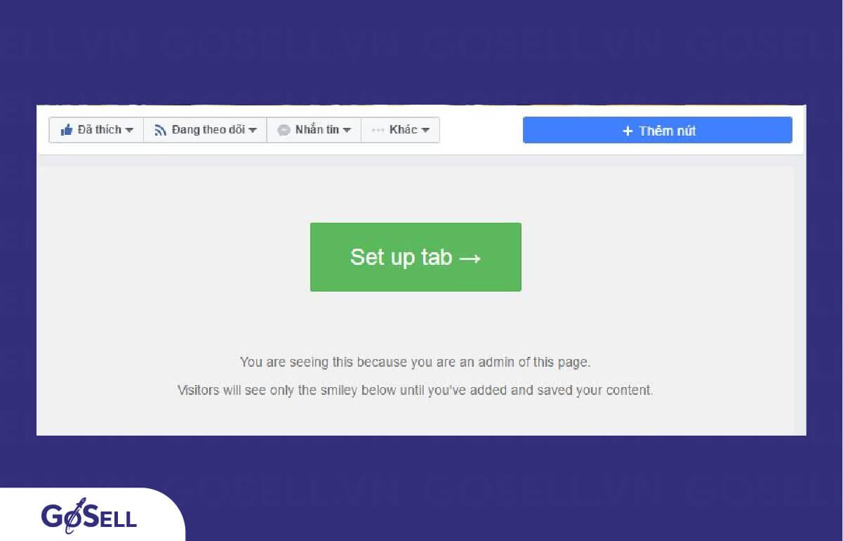 """Tại giao diện Fanpage, bạn nhấp chọn """"Set up tab"""""""