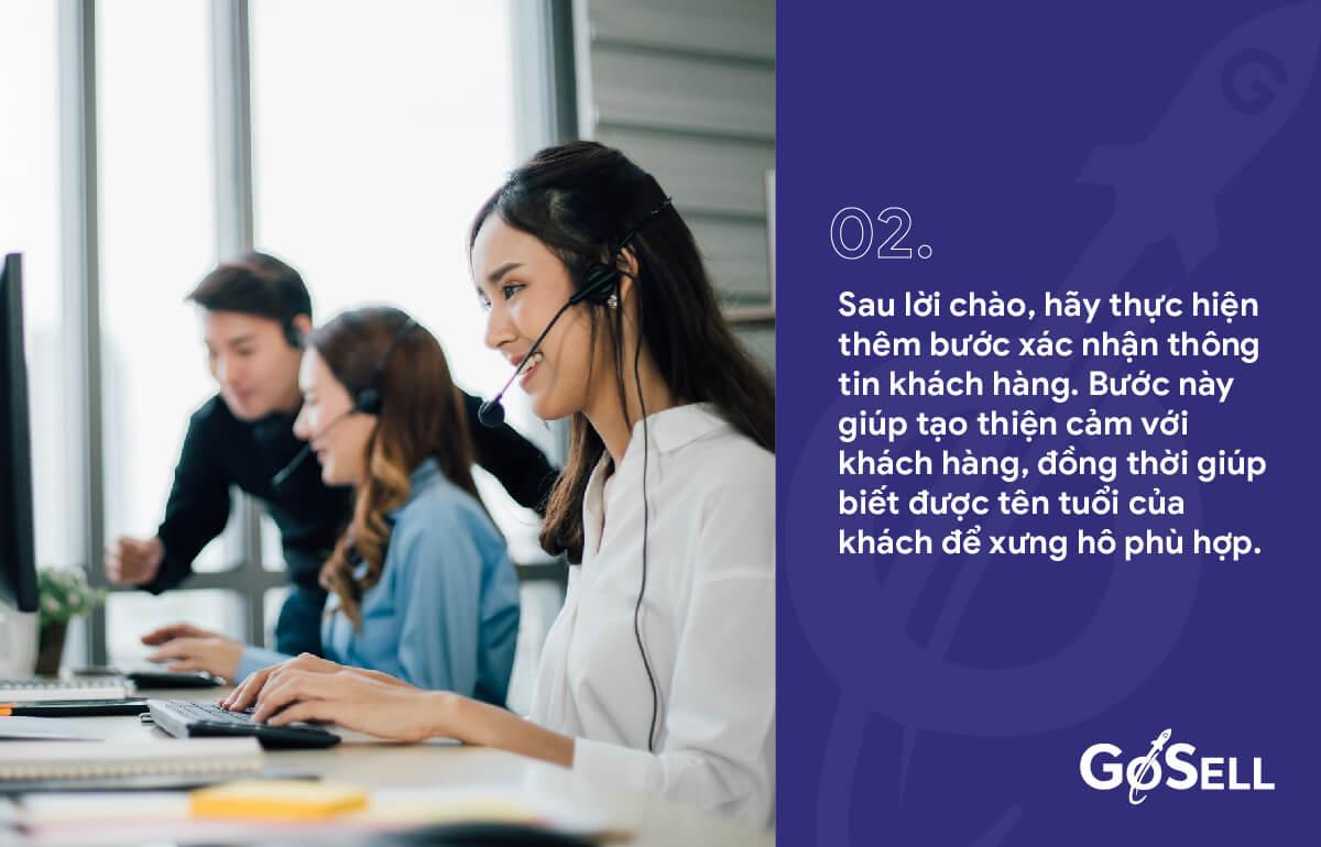 Xác nhận thông tin - Quy trình chăm sóc khách hàng qua điện thoại