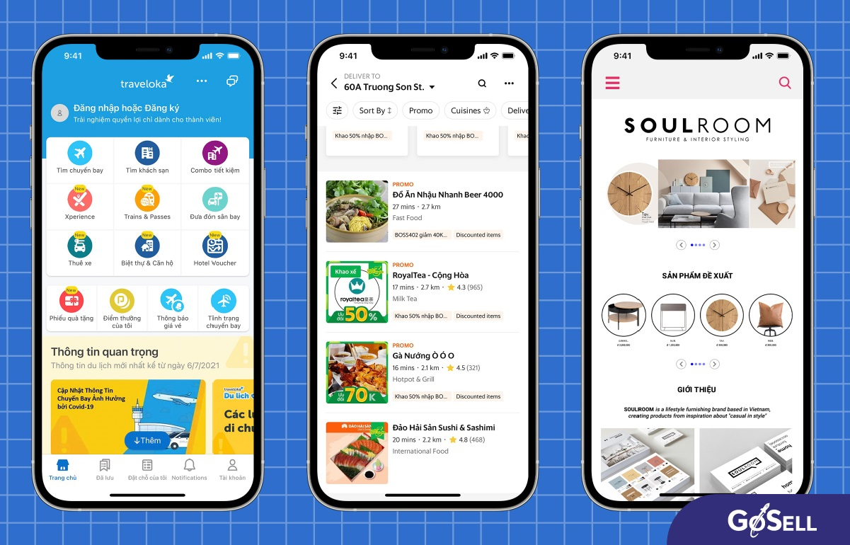 Một số thiết kế app bán hàng phổ biến