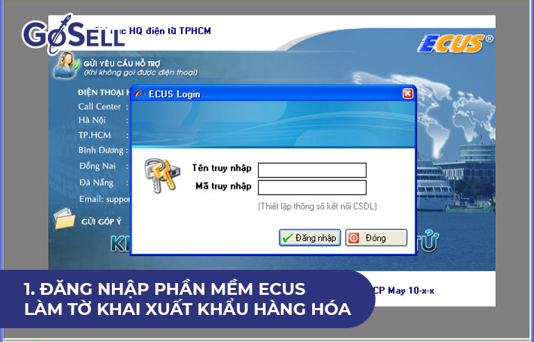 Đăng nhập phần mềm Ecus làm tờ khai xuất khẩu hàng hóa