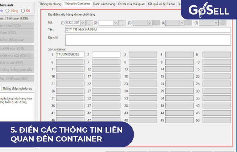 Điền các thông tin liên quan đến container